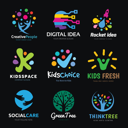 social care: logo collection of creative digital idea rocket kids green  social care and kids vector logo template