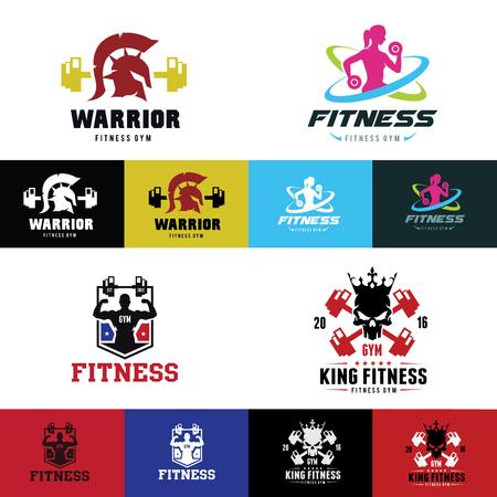 Gimnasio de fitness y club de logotipo del deporte plantilla de logotipo conjunto de vectores. Foto de archivo - 71043874