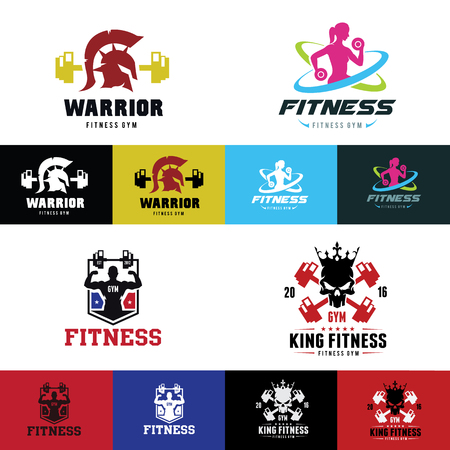 fitness gym and sport club logo set vector logo template. Illustration
