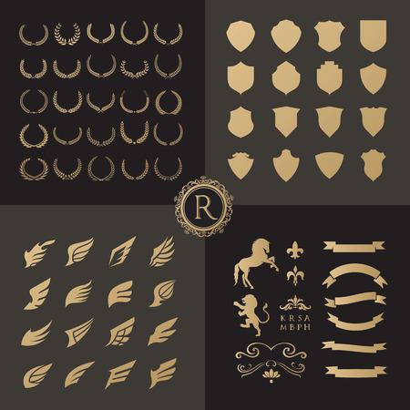 크레스트 로고 요소 set.Heraldic 로고, 방패 로고 요소, 빈티지 로렐 화 환, 전 령 디자인 요소