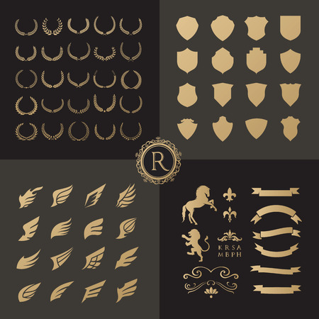 Crests logo element set.Heraldic logo,shield logo element,vintage laurel wreaths, Heraldic Design Elements Ilustração
