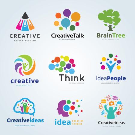 logo set collection creative idea brain think people tree technology design communication vector template