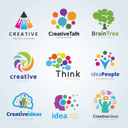 logo set collection creative idea brain think people tree  technology design communication vector template Illustration
