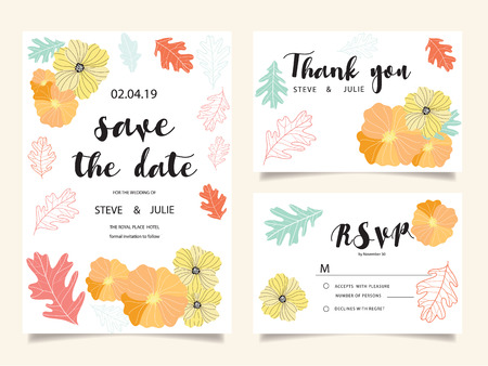 Wedding invitation cards. Illustration