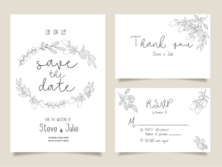 Wedding invitation cards design vector