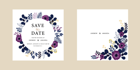 Wedding invitation card illustration set. Flower vector hand draw design collection.