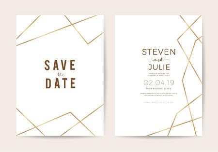 Cartes d'invitation de mariage de luxe avec modèle de conception de vecteur de texture ligne or