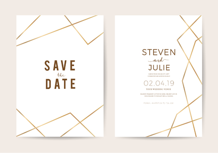 Luxury wedding invitation cards with gold line texture vector design template Stock Illustratie