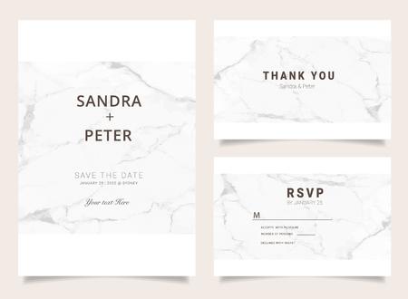 Luxe huwelijksuitnodigingen ingesteld voor ontwerpbedankkaart, RSVP stationair met marmeren vectoromslag. Vector Illustratie