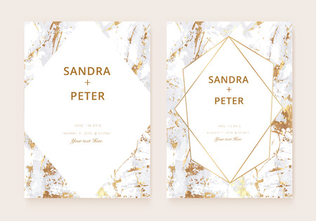 Luxury  wedding invitation cards with gold marble texture and golden geometric line vector illustration.