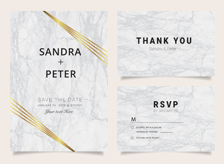Luxury  wedding invitation cards with marble texture and golden geometric line vector illustration. Illustration