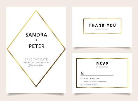 Wedding Invitations set ,Thank you card, RSVP design with gold geometric shape pattern