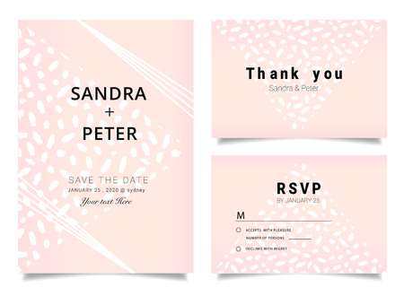 Wedding Invitations set ,Thank you card, RSVP design with rose gold geometric shape pattern Illustration
