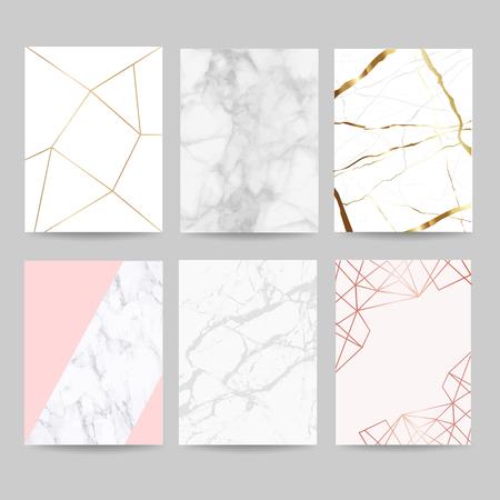 Luxushochzeitseinladungskartensammlung mit Marmorhintergrundabdeckung und Goldgeometrieformmustervektor