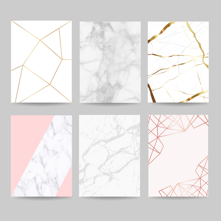 Luxury wedding invitation cards collection with marble background cover and gold geometric shape pattern vector