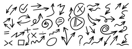 Hand drawn arrow vector icons set. sketch arrow design for business plan and education.