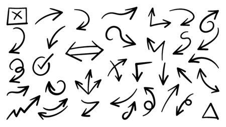 Handgezeichnete Pfeilvektorikonen eingestellt. Skizzenpfeildesign für Geschäftsplan und Bildung. Vektorgrafik