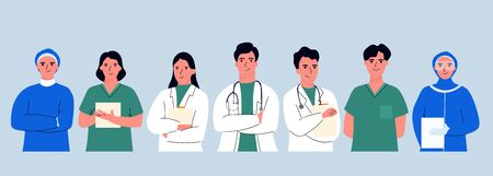 Thank you doctor and Nurses and medical personnel team for fighting the coronavirus. Thank you heroes, vector illustration