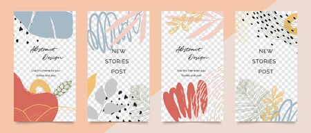 Design backgrounds for social media post and stories. Photo frame template for shop , fashion, blog, web ads. Trendy Memphis design cover. Abstract shape with minimal design. Vector  illustration.