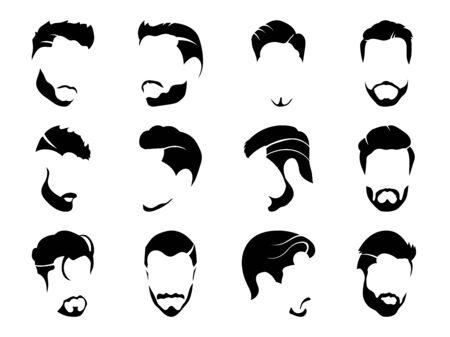 Coiffures pour hommes et coupe de cheveux avec illustration vectorielle de barbe. Vecteurs