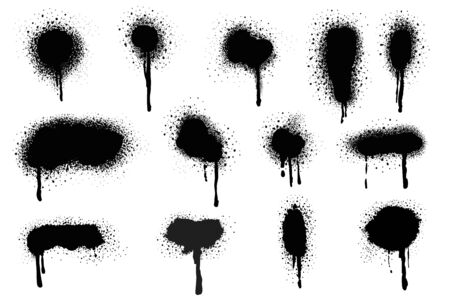 Spray Paint Vector Elements isolated on White Background, Lines and Drips Black ink splatters, Ink blots set, Street style. Ilustração Vetorial