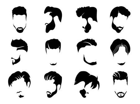 Men hairstyles and haircut with beard vector illustration. Ilustração Vetorial
