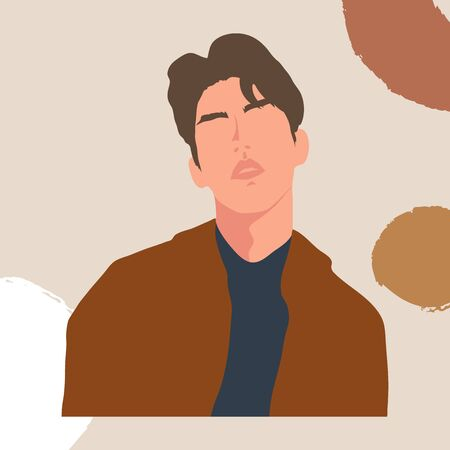 Abstract people vector. Trendy Male characters, Men portrait hand drawn with modern minimal style for prints, fashion, social media cover design, poster and background. Vector illustration. Ilustración de vector