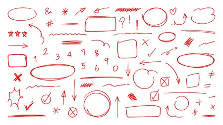 Red Arrow vector doodle. Hand drawn sketch arrows design for business plan and education.