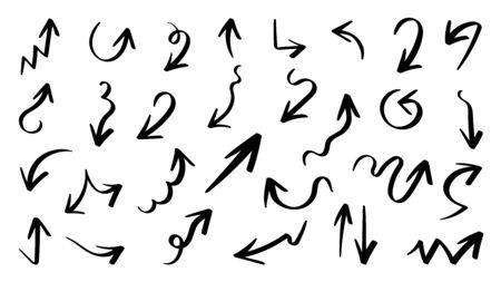Arrow vector doodle. Hand drawn sketch arrows design for business plan and education.  Иллюстрация