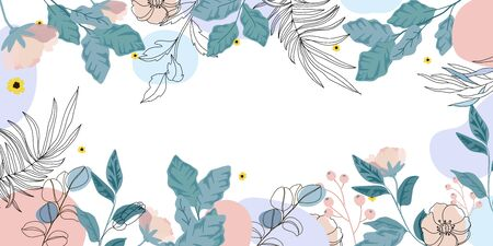Luxury Floral  background vector, Green and pink flower Natural pattern design for wallpaper, packaging,  fabric, and wrapping background texture. Vectores