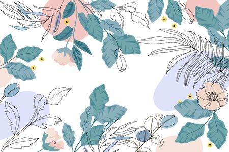 Luxury Floral  background vector, Green and pink flower Natural pattern design for wallpaper, packaging,  fabric, and wrapping background texture. Foto de archivo - 148786152