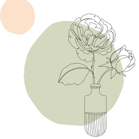 Flower icon Line art. Abstract minimal flora design for cover, prints, fabric and wallpaper. Vector illustration Ilustração Vetorial