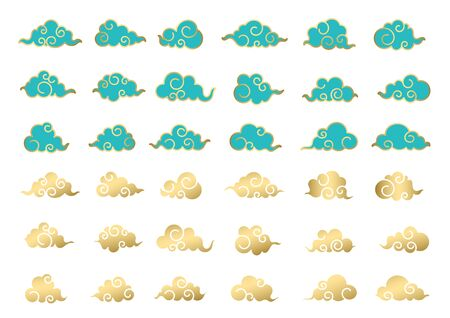 Chinese traditional cloud vector icon collection.