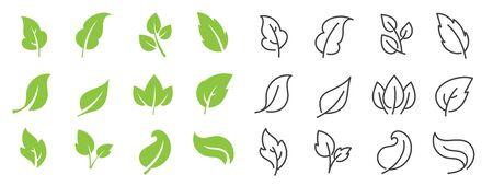 Leaves line vector icon set.  Leaf shapes design for  and natural beauty design element. Vector illustration. Ilustração