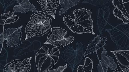 Luxury gold and nature line art ink drawing background vector. Araceae leaves and Floral pattern  vector illustration. Ilustração