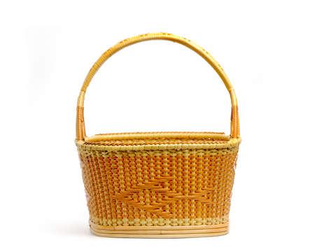 Wicker fruit basket isolate on white background. Imagens - 151630829