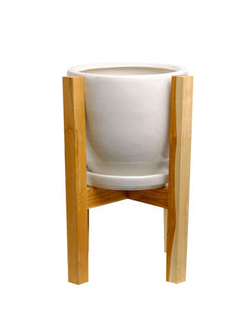 Wood  plant pot stand and white ceramic pot isolate on white background.