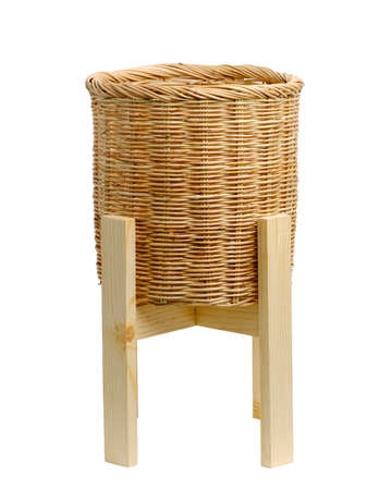 Wood  plant pot stand and Wicker basket pot isolate on white background.