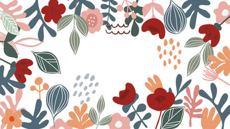 Abstract background vector with natural and floral line arts. Creative pattern with hand drawn shapes. Design background for social media post, cover, print and wallpaper Ilustração
