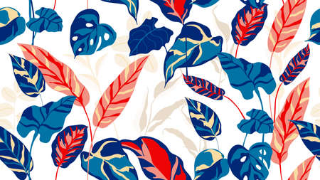 Tropical seamless background pattern vector. Fashionable exotic plants and leaves wallpaper. 矢量图像