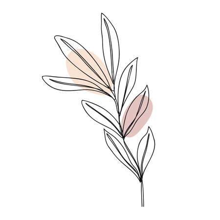 Leaves icon Line art. Abstract minimal flower design for cover, prints, floral wall art, Home decor picture, fabric and wallpaper. Vector illustration