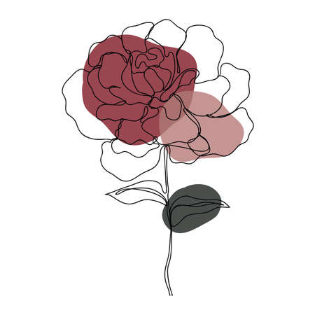 Rose icon Line art. Abstract minimal flower design for cover, prints, floral wall art, Home decor picture, fabric and wallpaper. Vector illustration Imagens - 151917286