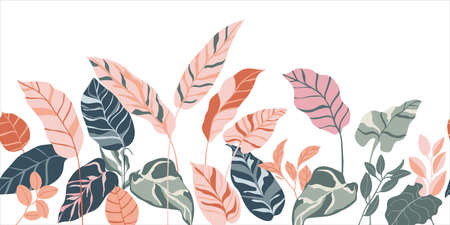 Tropical seamless background pattern vector. Fashionable exotic plants and leaves wallpaper.