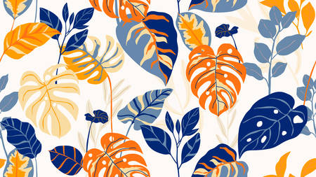 Tropical background pattern vector. Fashionable exotic plants and leaves wallpaper. Imagens - 151917335