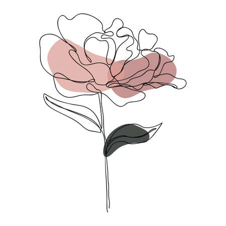 Rose icon Line art. Abstract minimal flower design for cover, prints, floral wall art, Home decor picture, fabric and wallpaper. Vector illustration Imagens - 151917388
