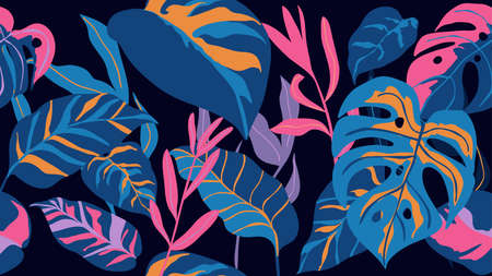 Tropical seamless background pattern vector. Fashionable exotic plants and leaves wallpaper. Ilustração