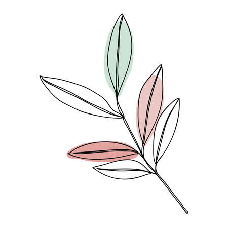 Leaves icon Line art. Abstract minimal flower design for cover, prints, floral wall art, Home decor picture, fabric and wallpaper. Vector illustration Imagens - 151917112