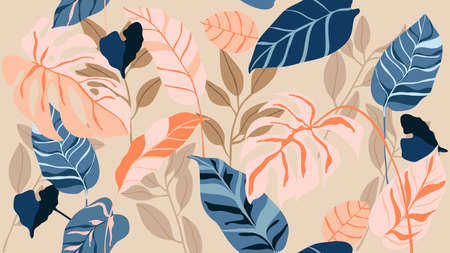 Tropical seamless background pattern vector. Fashionable exotic plants and leaves wallpaper. Imagens - 151917142