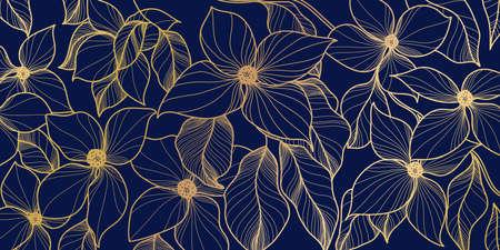 Glden flower and blue wallpaper. Elegant decorative floral pattern for printing, sales, design of postcards, packaging, covers, cases and prints. Vector illustration.