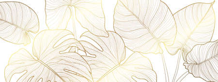 Luxury gold and nature green background vector. Floral pattern, Golden split-leaf Philodendron plant with monstera plant line arts, Vector illustration. Imagens - 153571021
